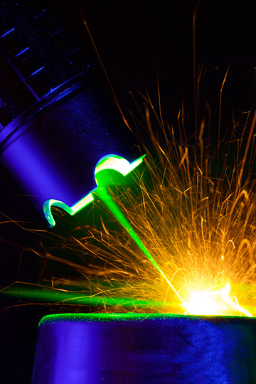 laser with sparks
