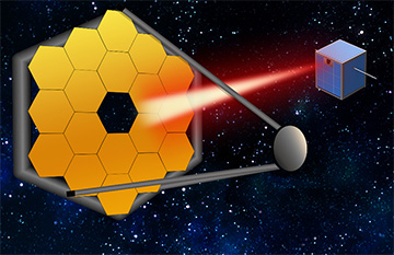 Rendering artists Cubeset Shooting Laser on the Space Telescope