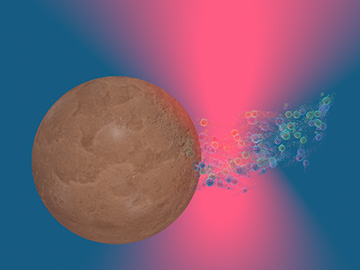 microsphere in laser trap, pursued by bubbles