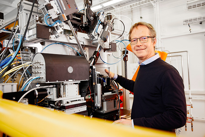 Man in front of beamline