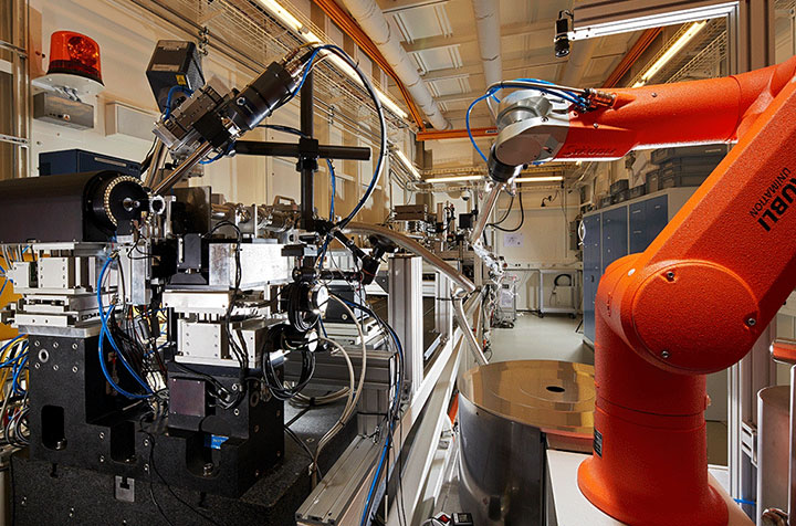 view of beamline with robot arm