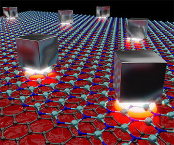 Artist rendering of plasmonic system on graphene sheets
