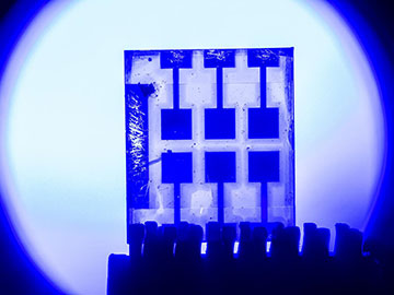 photodetector device in front of blue light