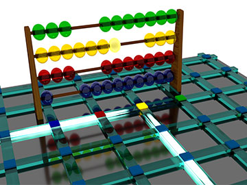 optical chip with abacus image overlain