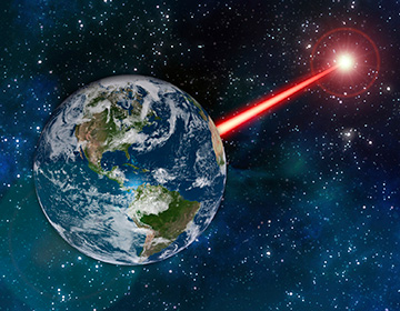 Laser shooting from Earth into space